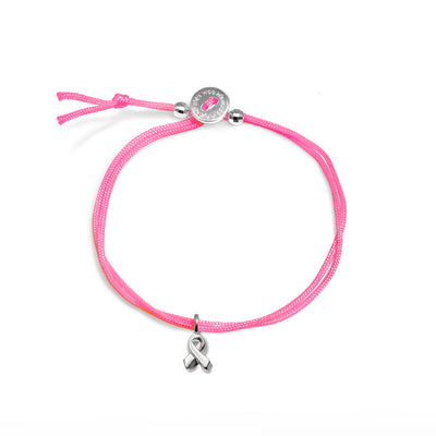 Mini Addition Breast Cancer Ribbon Cord Bracelet