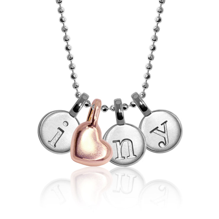 Mini Addition Letter I Heart Cluster Necklace