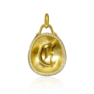 Origins Letter C in 18kt Yellow Gold with Diamond Rim