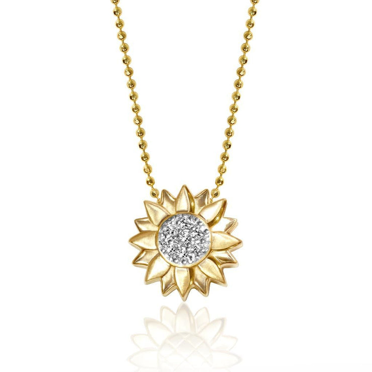 Gold and Diamonds Little Seasons Sunflower Charm Pendant Necklace
