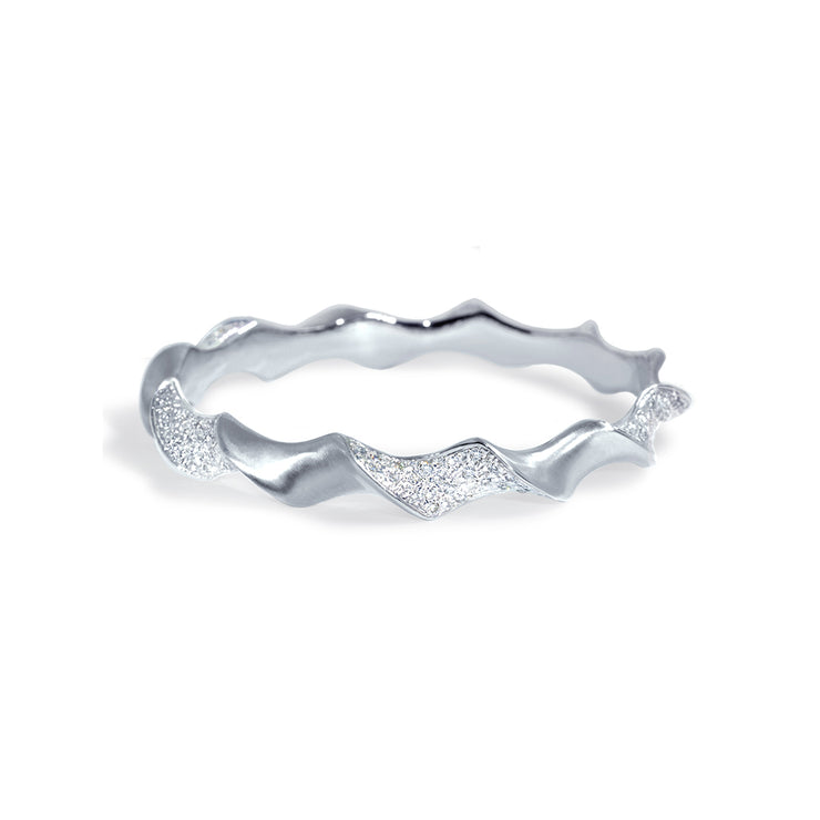 Sweni 14kt White Gold and Diamond Chunky Horn Bangle