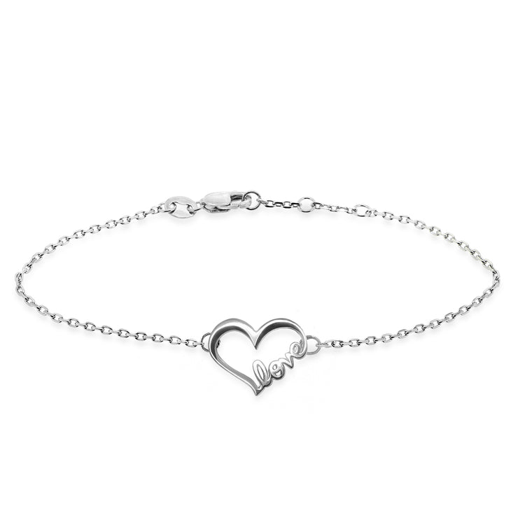 Sterling Silver Words Love Heart Bracelet