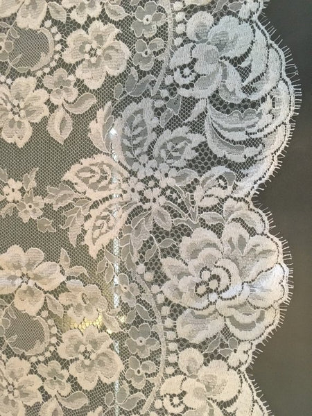 "13"" Silk White Chantilly lace trim Border"