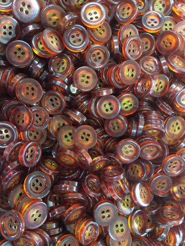 Red/Brown Plastic Button with yellow center Buttons