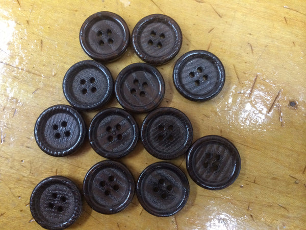 Plastic Faux Wood Buttons