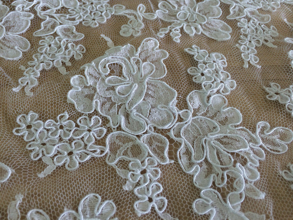 "Strip 4.5 yd of 72"" French Alencon Lace Trim Color: White Item #432- R72"