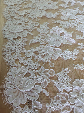 "72"" French Alencon Lace Trim Color: Ivory Item #432- R72"