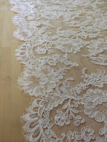 "36"" French Alencon Lace Trim Color: Ivory Item #539-R36"