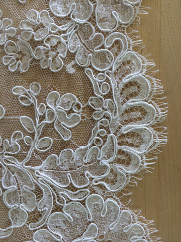 "36"" French Alencon Lace Trim Color: Silk White Item #539-R36"