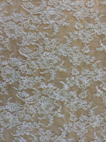 "36"" French Alencon Lace Trim Color: White Item #539-R36"