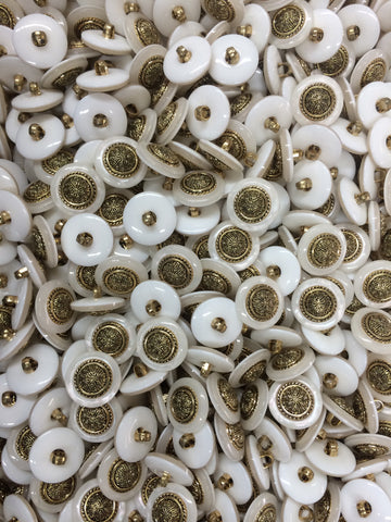 White Iridescent Button with Gold finish Metal center