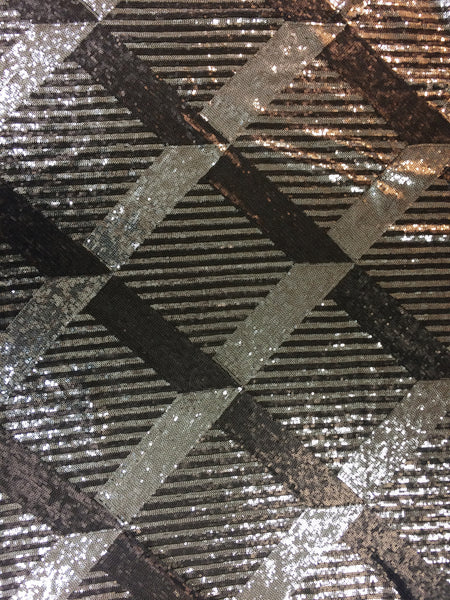 Diamond Strip Sequin in Taupe and Brown