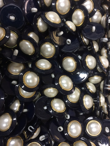 Navy Plastic Buttons with White Pearl and Gold embellishment