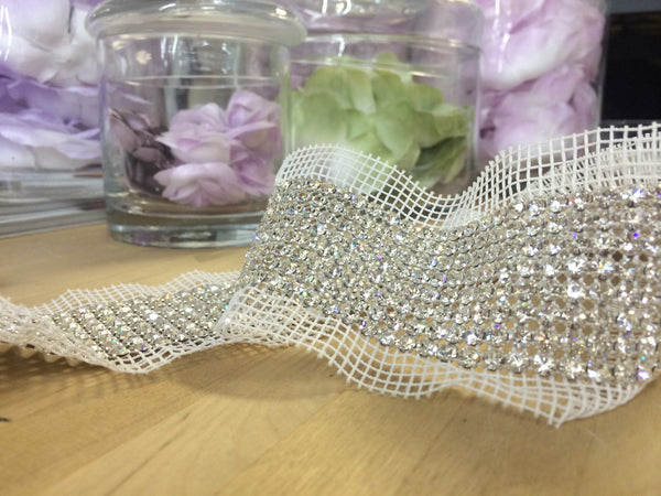 8 Row Clear Swarovski Crystal Trim with netting
