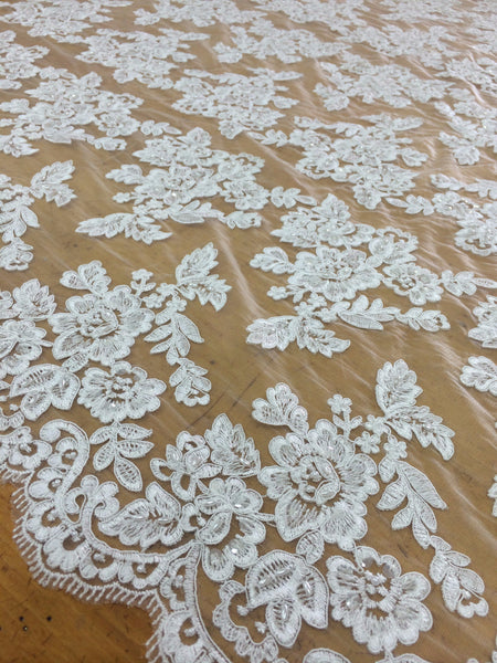 White Beaded Lace for bridal