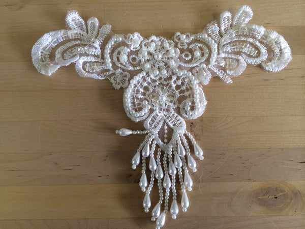 White Beaded Applique