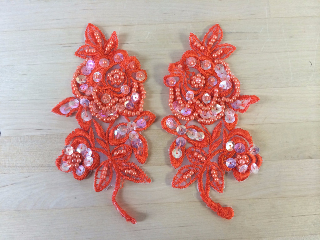 Orange Beaded Applique