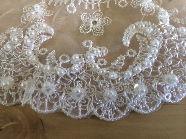 White Beaded Collared Applique