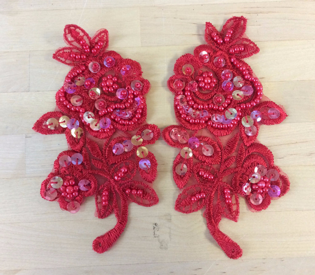 Red Beaded Applique