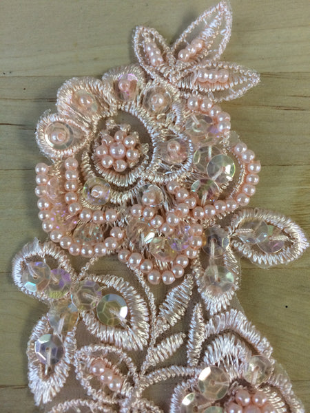 Peach Beaded Applique