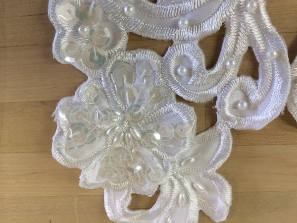 White Satin Beaded Applique