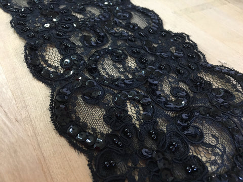 Black Re-Embroidered Beaded lace trim
