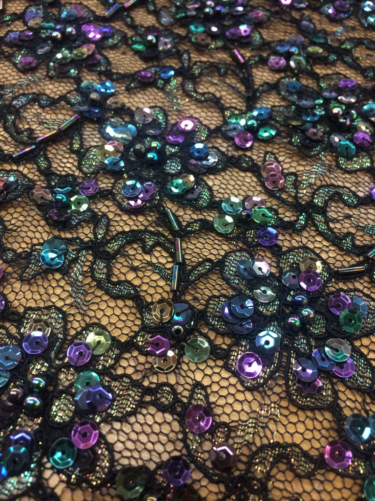 black lace beaded with multi colored sequins and beads. Black Bedroom Furniture Sets. Home Design Ideas