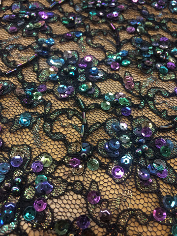 Black Lace Beaded with multi colored sequins and beads