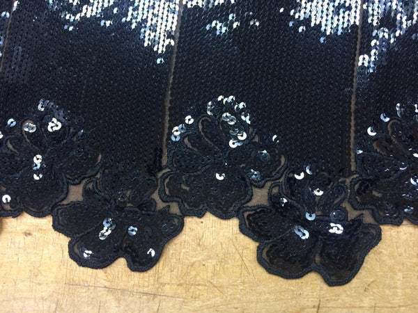 Black and Black Sequin Lace