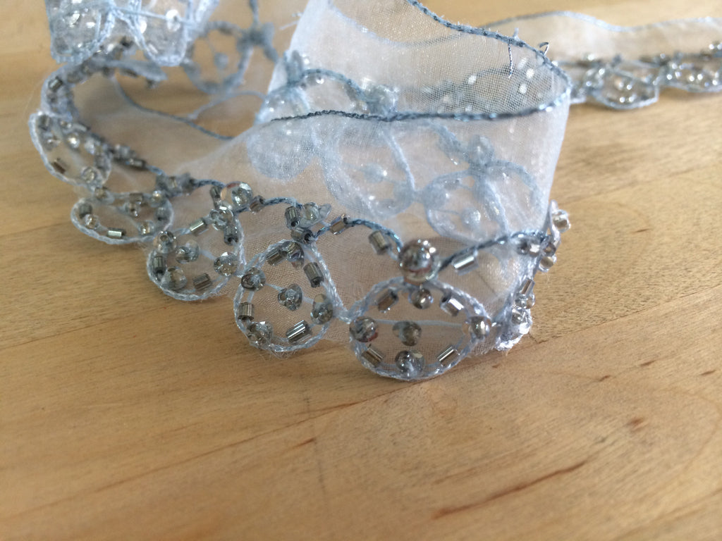 Silver Beaded trim on organza