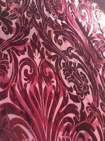 Burnout velvet with a floral design fuchsia velvet in a baroque floral pattern