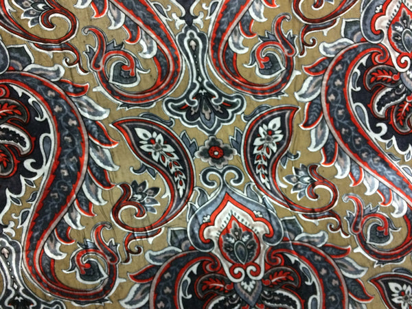 Paisley Burnout Velvet in Grays and black with hint of Orange