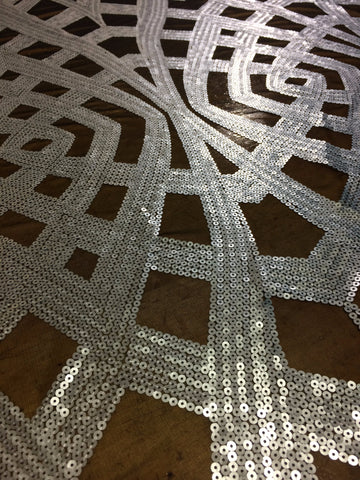 Art Deco Sequin in dull silver on black mesh