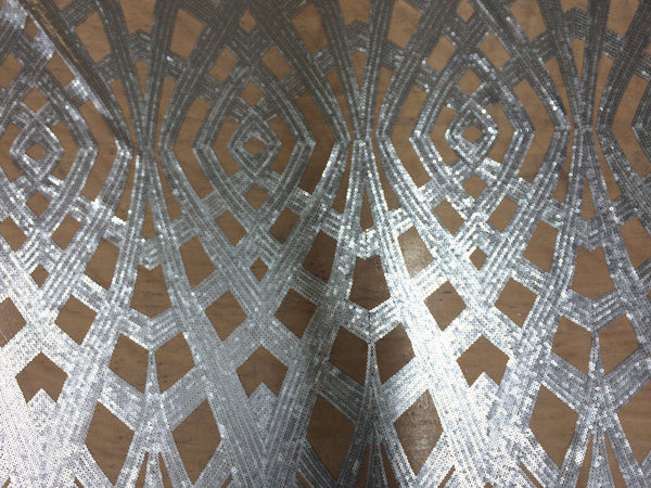 Art Deco Sequin in dull silver on white mesh