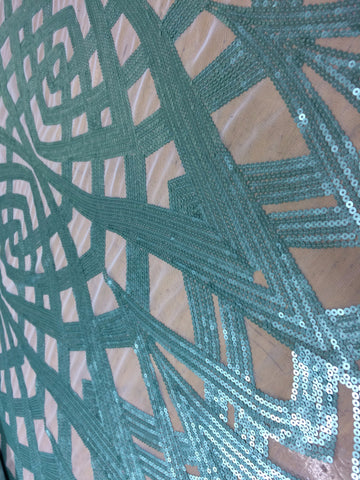 Art Deco Sequin in Ocean Blue on White mesh