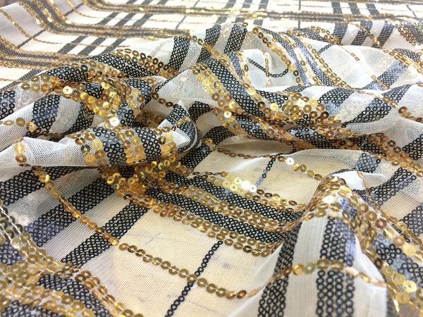 Plaid Strip Sequin in gold, black on white mesh