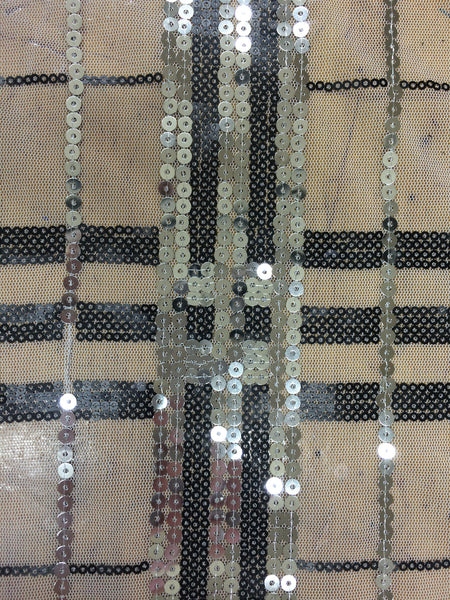 Plaid Strip Sequin in silver and black on white mesh