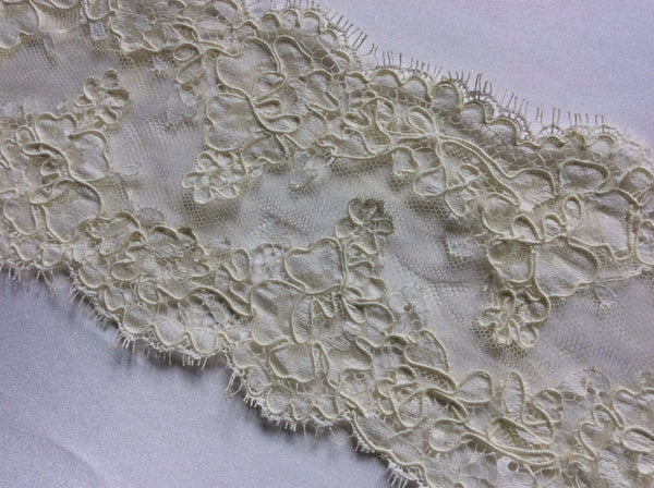 "4"" Vintage French Alencon Lace Scalloped Trim Color: Deep Ivory"