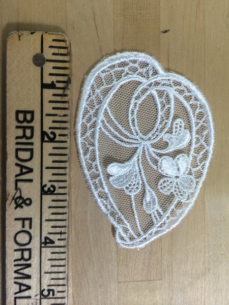 White embroidered net Applique