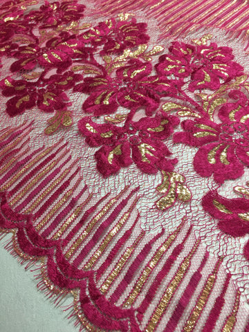 Fuchsia and Gold Chantilly lace