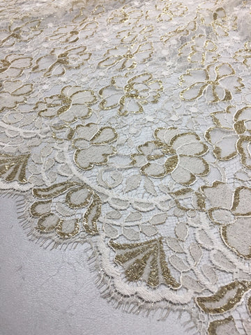Ivory and Gold Chantilly lace