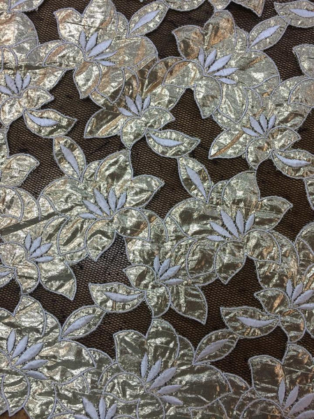 Gold Lame Floral cutout on Net