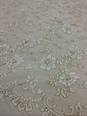 Ivory Beaded Lace with Gold Edging
