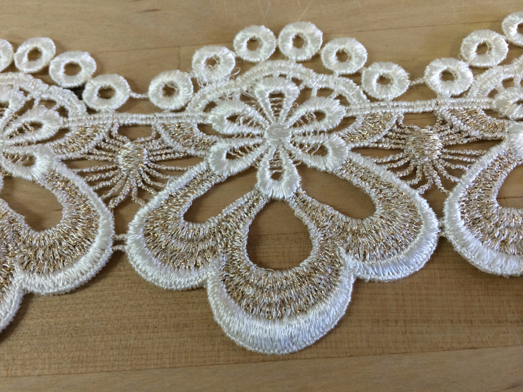 Ivory Venise Lace with metallic gold threading