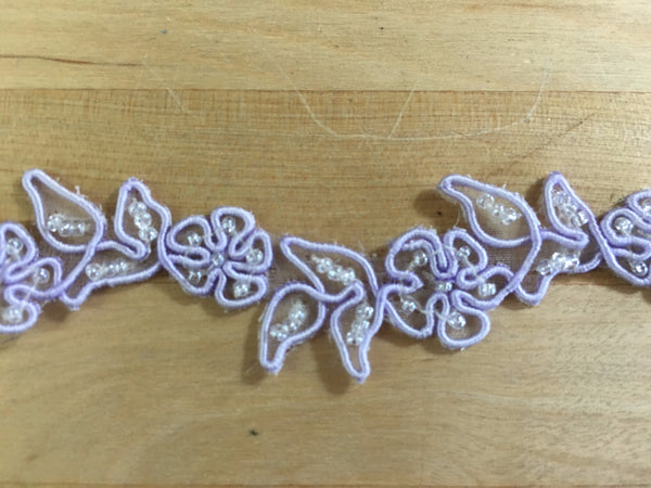 Lilac Floral Re-embroidered Trim