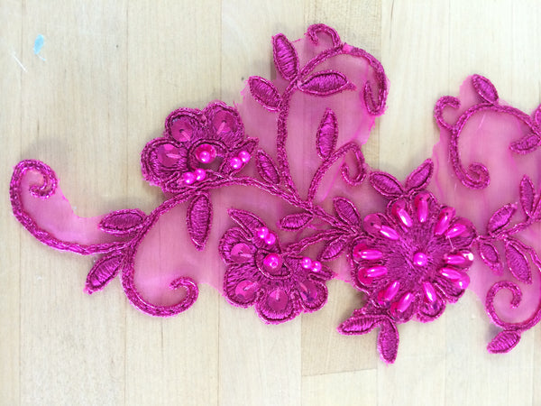 Metallic Fuchsia Beaded Applique