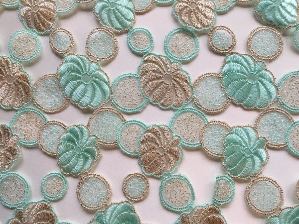 Mint metallic embroidered lace with gold threading and cut outs