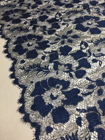 Navy and Silver Chantilly lace