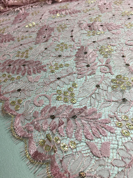 Rose Pink and Gold Chantilly lace