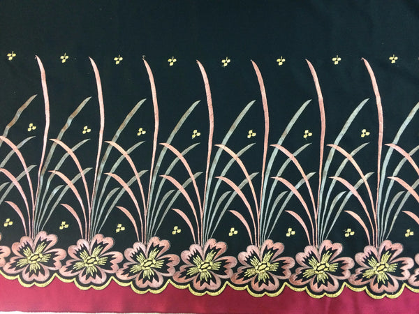 Embroidered Black light weight dull satin with Pink Floral Design